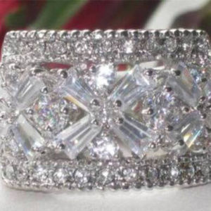 NWT ring white gold plate cubic zirconia wide band